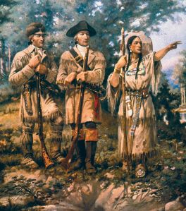 Sacagawea is shown on the far right in this artwork.