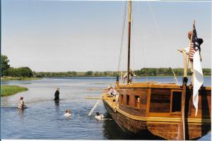 A replica of the expedition's keelboat (photo from http://lewisandclarktrail.com/keelboat.htm)