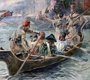 York is seated in the third row of the canoe in this artwork.