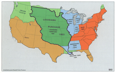 A map showing the Louisiana Purchase (in dark green)
