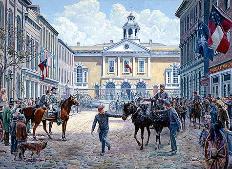 """The Guns of Autumn"" by Mort Kunstler. (Lee is on a horse at the left)."