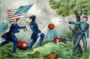 Death of Col. Edward D. Baker at the Battle of Ball's Bluff, by Currier and Ives