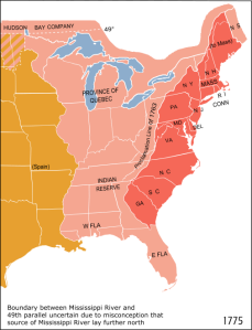 A Map of the English Colonies in America around 1775 (very end of the colonial period)