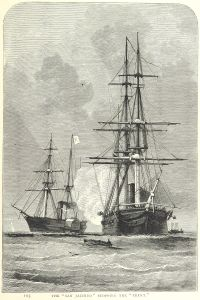 Engraving of the Trent and San Jacinto