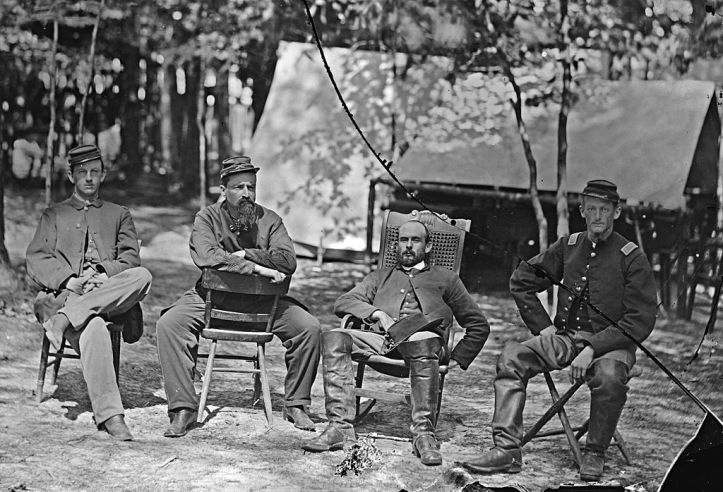 Charles Francis Adams, Jr. with comrades from the 1st Massachusetts Cavalry. Adams is second from the right.