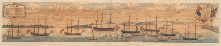 Boston Ships and Harbor (1768)