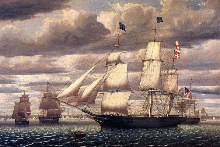 A Clipper Ship leaving Boston Harbor, c. 1850